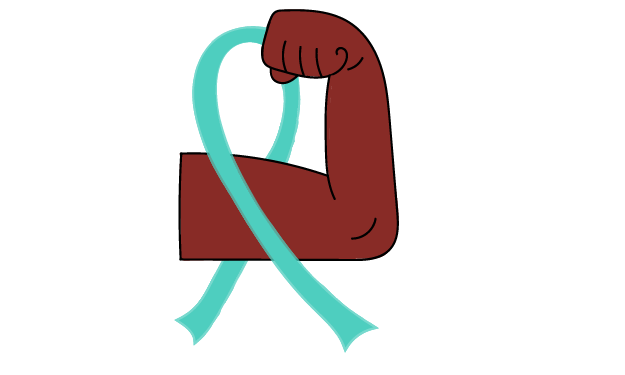 flexing arm with myeloma ribbon