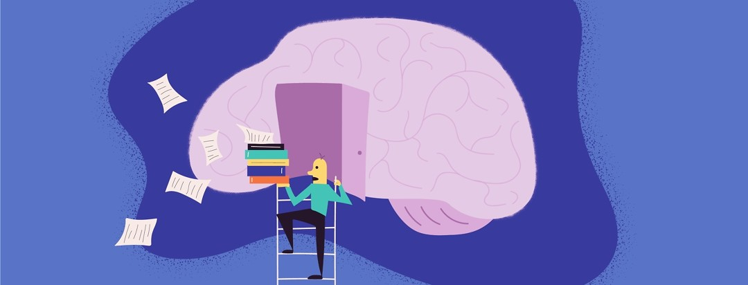 Man with a pile of books climbing a ladder to a brain