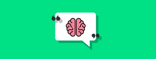 A brain in a speech bubble with quotation marks on either side of it
