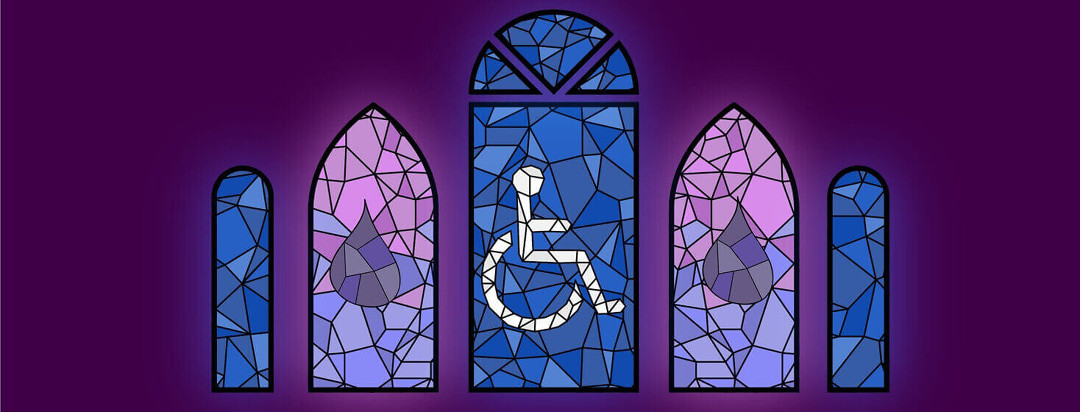 Stain glass windows with a handicapped symbol in one and blood droplets in the other two