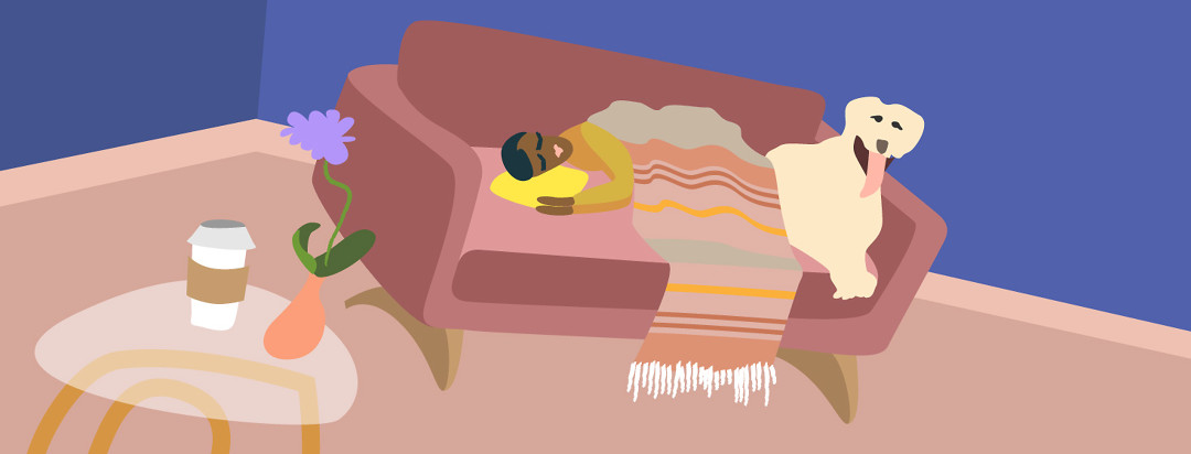 Woman and her dog laying on a couch