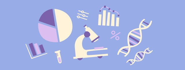 A microscope, bar graph, pie graph, and DNA strands in a collage on a blue background.