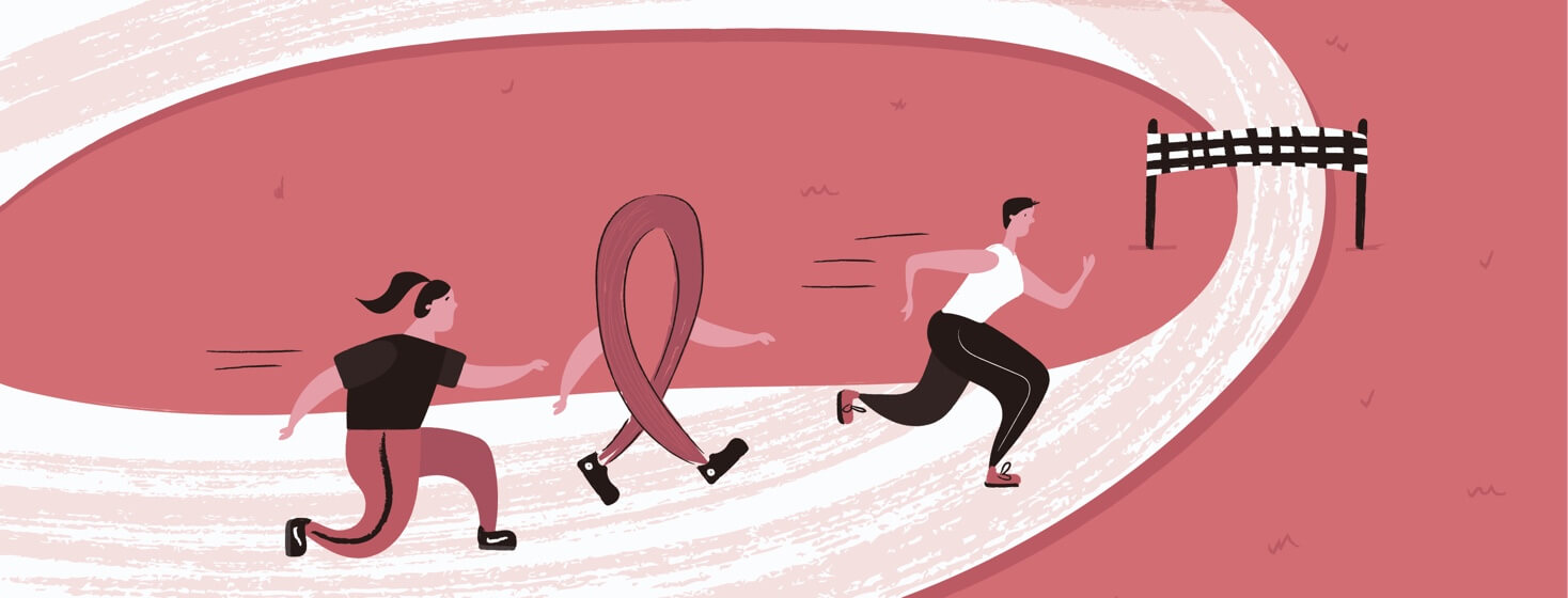 two woman and a cancer ribbon running a race