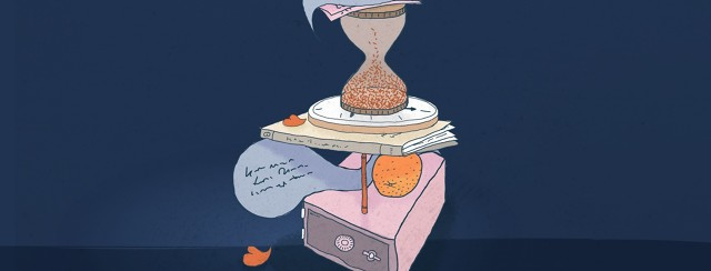 A barely balanced tower of time, food, things to read, and equipment.