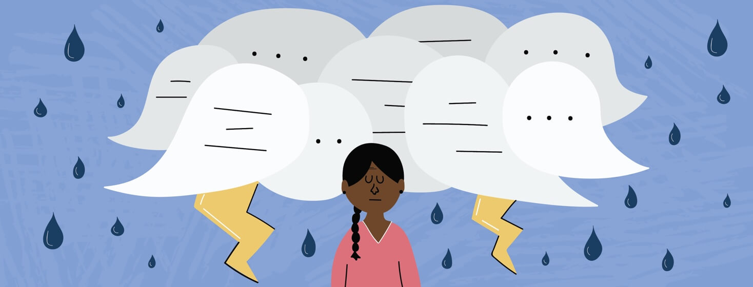 A woman with a dark cloud over her head made out of speech bubbles