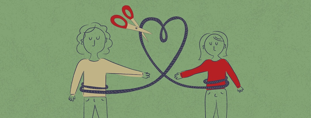 A woman and her grandmother attached by a heart shaped rope that is about to be cut