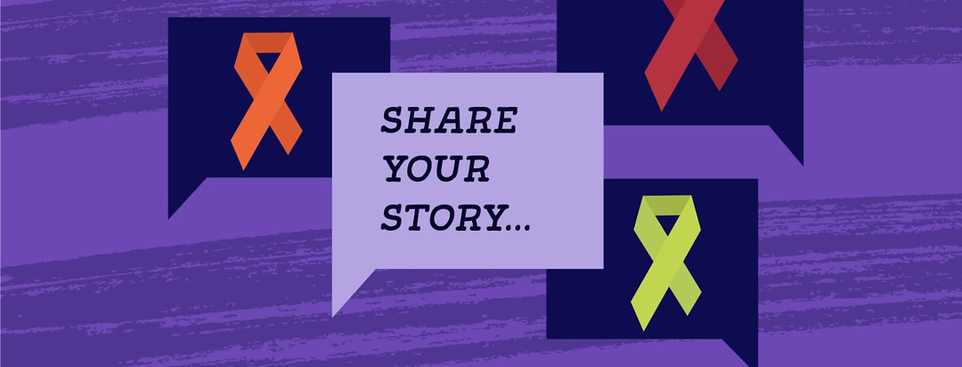 Orange, red, and green blood cancer ribbon with the words Share Your Story