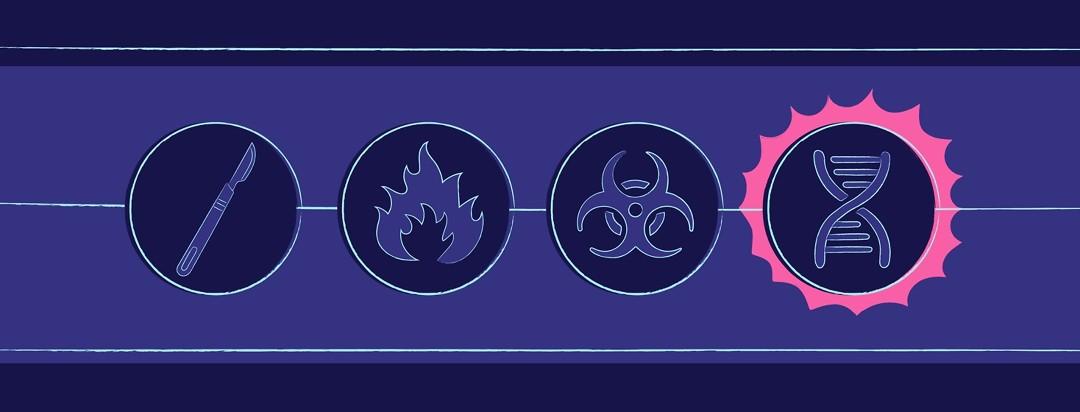 a scalpel, a flame, a hazard sign, and a DNA strand