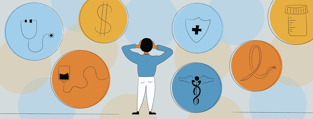An overwhelmed man looking at circles containing health insurance, medicine, a dollar sign, a stethoscope, and a cancer ribbon