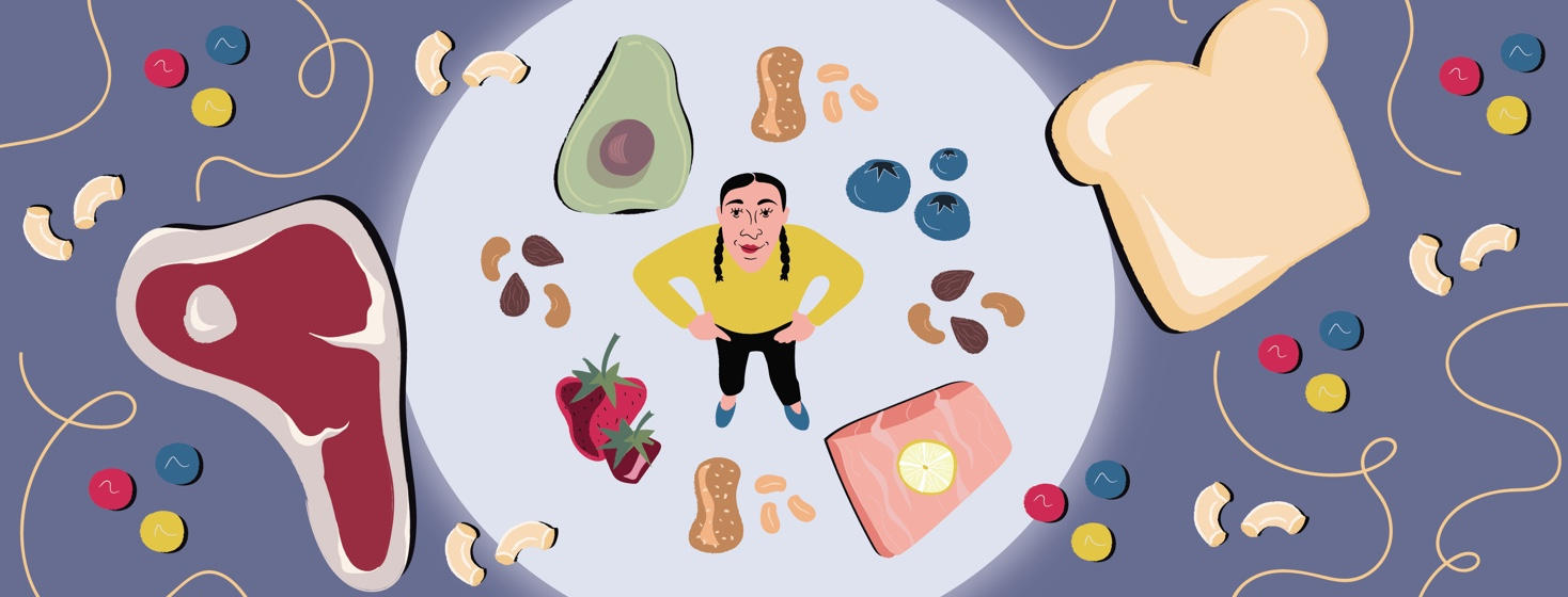 a woman surrounded by healthy food, creating a barrier between her and unhealthy food