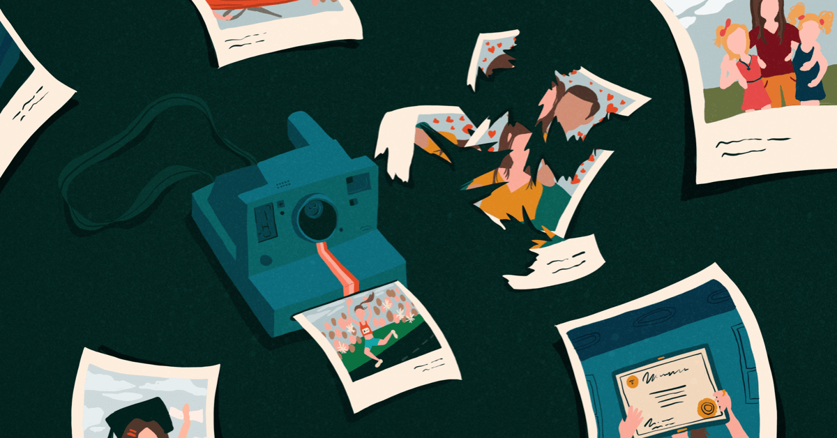 Polaroid camera surrounded by photos, one ripped in pieces