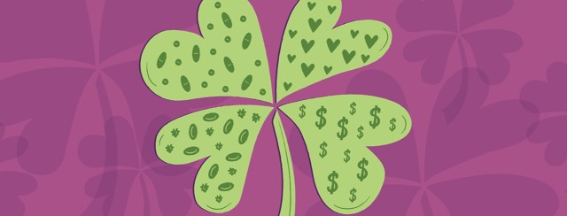 a four leaf clover with a different pattern in each leaf including blood cells, pills, hearts, and dollar signs