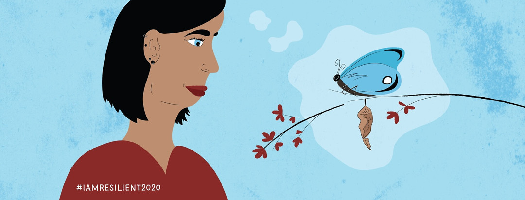 a woman looking at a butterfly that has emerged from its cocoon