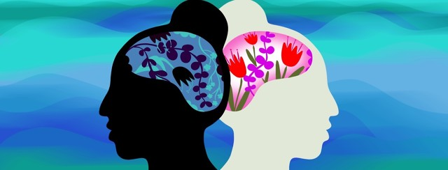 A woman's head is reflected and faced back to back - one of the brains encompasses vibrant colorful flowers, while the other includes dark and wilted flowers