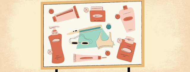 a drawing board with rejected lotions and creams but in the middle there is phototherapy as a possible new treatment