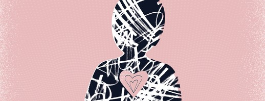 the silhouette of a person with scribbles inside of it and the outline of a heart
