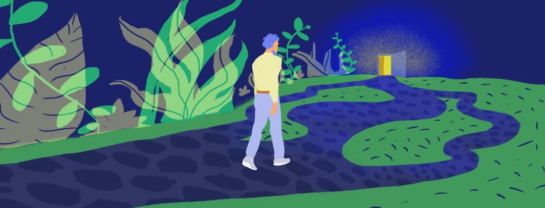 A man walking down a wild jungle path with fork in the road, toward a glowing door