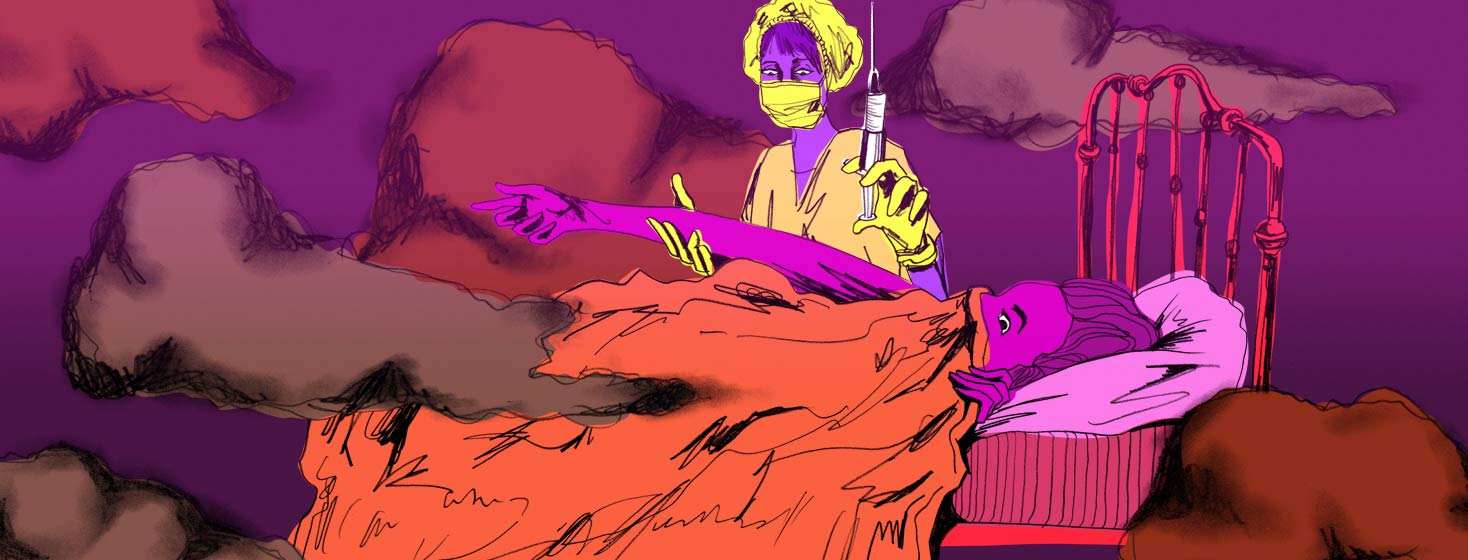 woman laying in bed, as strange clouds swirl around, having a twisted colorful nightmare of a nurse with a huge needle.