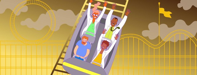 a man is miserable on a roller coaster with fellow passengers who are all doctors and who are all enjoying the ride