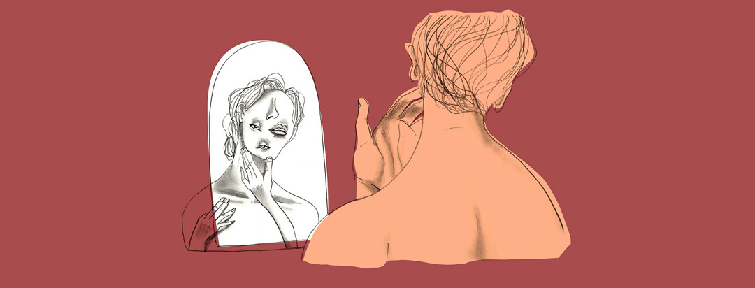 terra cotta colored image of a woman looking in the mirror but the face on her reflection is scrambled