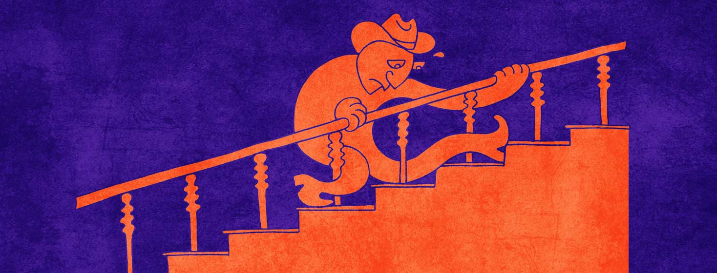 a cartoonish man with a cowboy hat and wobbly legs is struggling to climb the stairs.