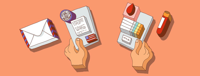 a blocky illustration of two hands, one holding a letter from the government that is the 1960's army draft, the other hand holding a paper that is blood lab results.