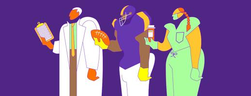 three bulky figures: a doctor, a nurse, and a football player.