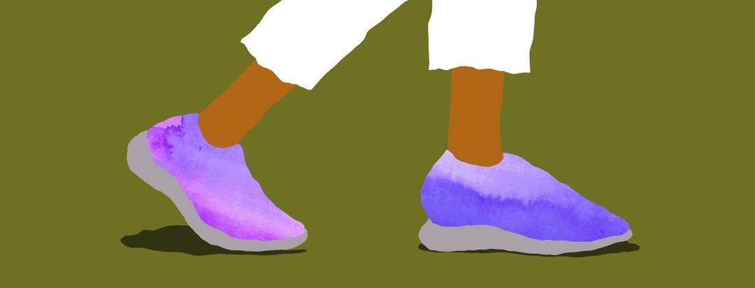 a rich olive background with purple, water-colored tennis shoes walking
