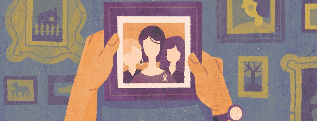 Someone hangs up a photo of themselves with cancer ribbon, theyre moving on
