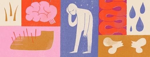 A collage of blood cancer symptoms including fatigue, sweating, broken bones, brain fog etc