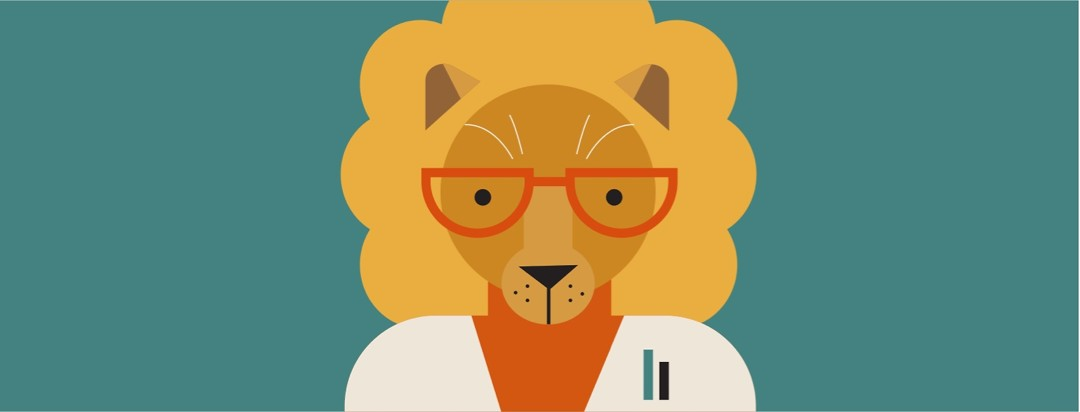 A lion dressed as a doctor in a lab coat