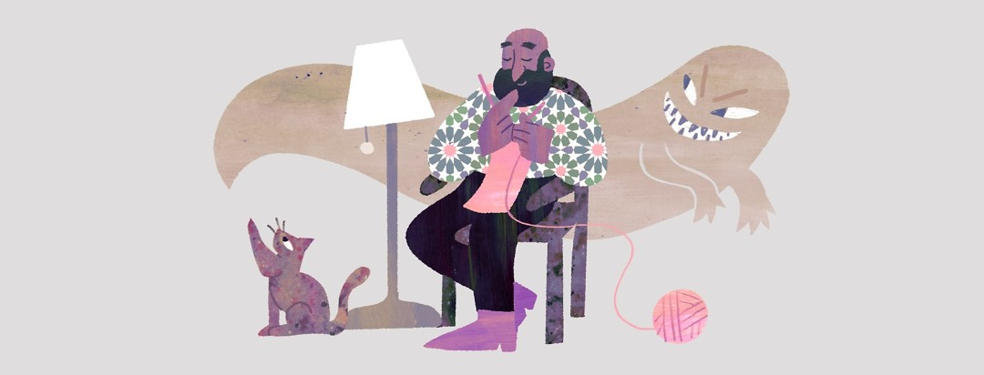 Black senior man sits and knits a scarf while a monster floats behind him