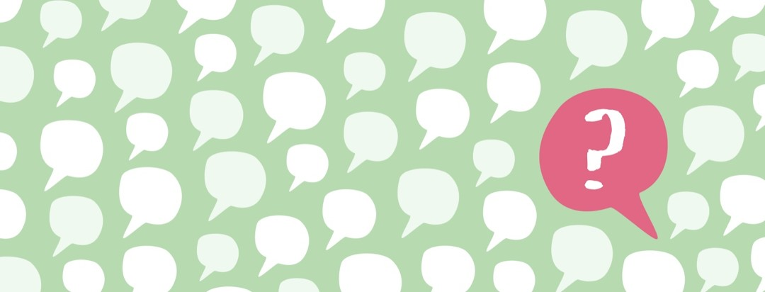 Speech bubbles with one larger one asking a question