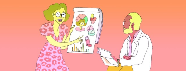 A woman presents her research and opinions to a doctor using charts and graphs