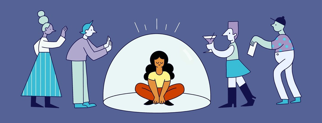 Woman sits calmly in bubble that is keeping out problems and stressors
