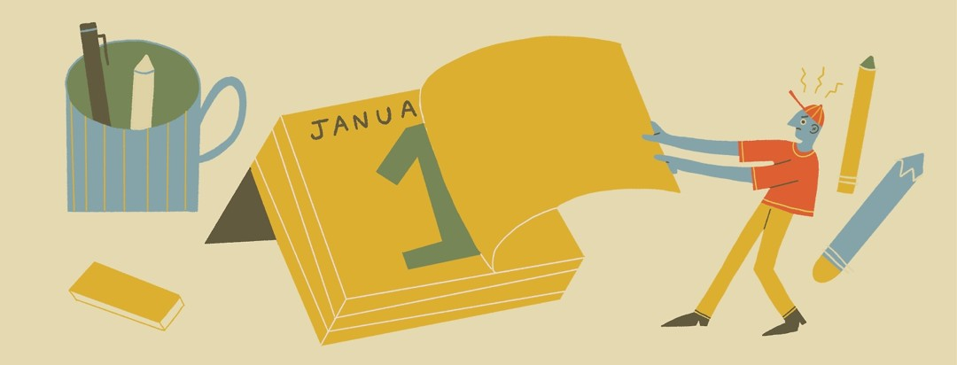 Angry man tears off last page of desk calendar, revealing a new year.