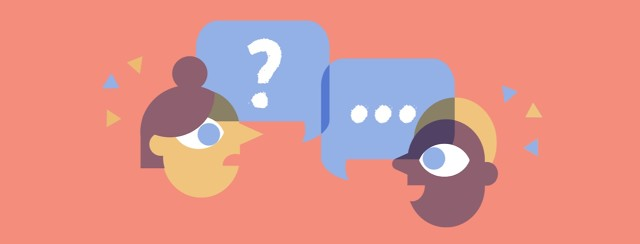 Two people share speech bubbles, one with a question mark and one with an answer