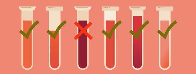 A series of test tubes holding blood, one of them has a red X through it