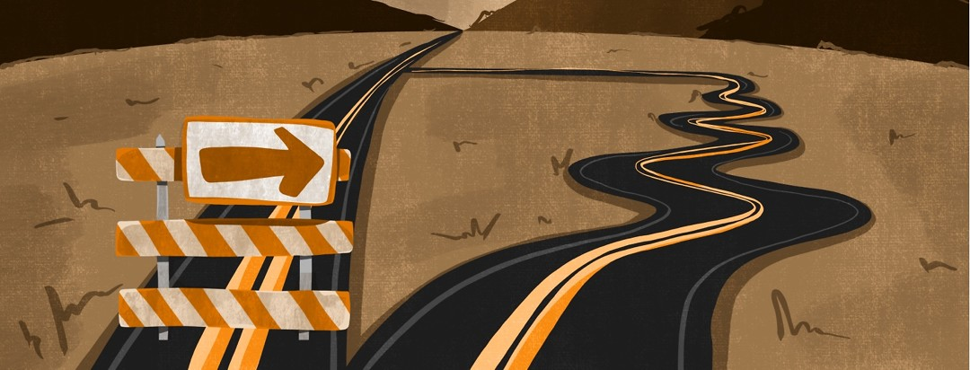 wo roads are shown - one straight forward, and the other is long and winding.