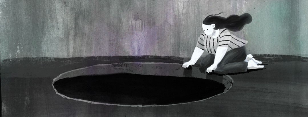 A woman crouches on the edge of a black pit