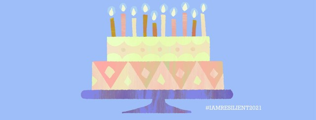 A birthday cake with ten candles