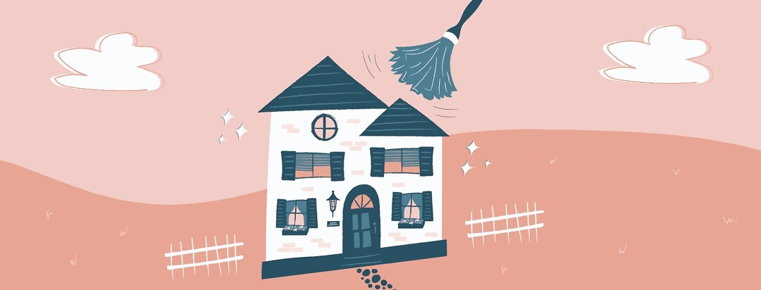 a house being dusted, becoming sparkling clean