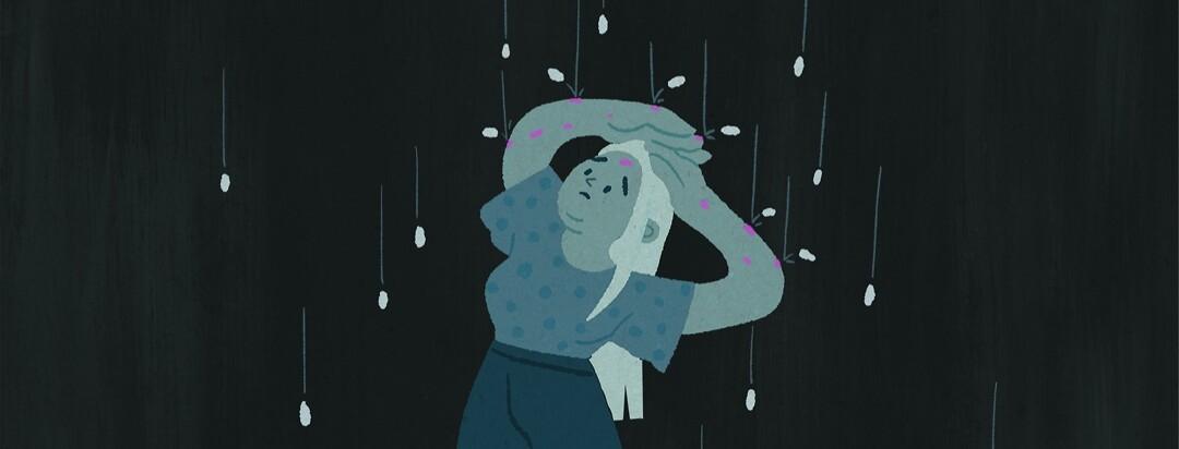 Pills fall painfully down like raindrops