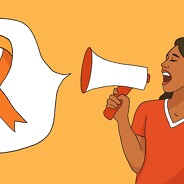A woman with a megaphone shouts a speech bubble with an orange cancer ribbon