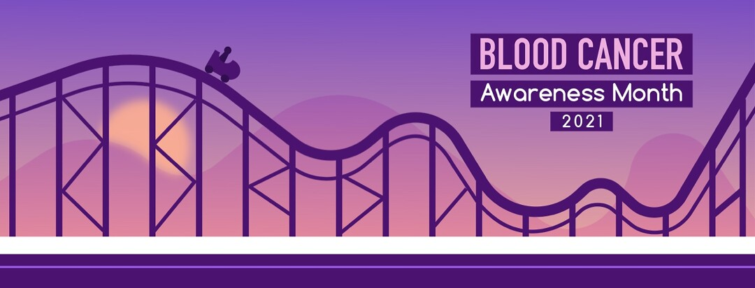 """A rollercoaster with the text """"Blood Cancer Awareness Month 2021"""""""