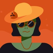 An alien wearing sunglasses and a sunhat