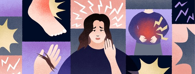 A woman surrounded by side effects, nausea, pain, hair loss