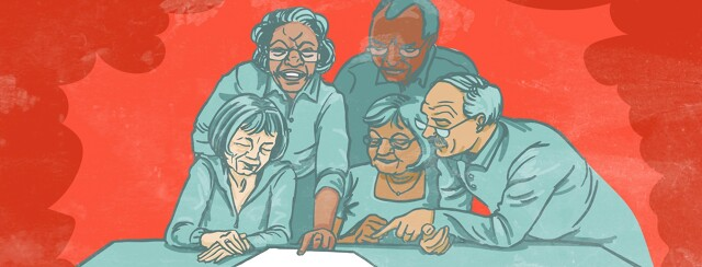A group of senior citizens read a paper together