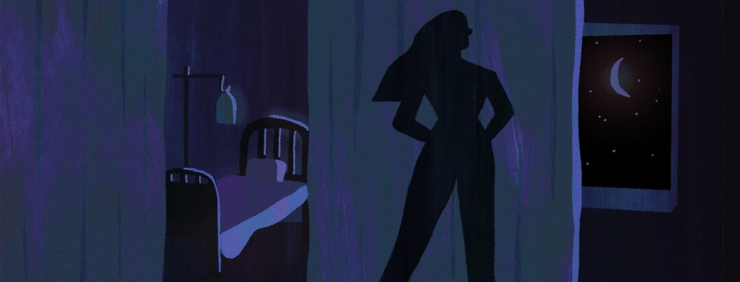 A silhouette of a superhero stands behind a hospital curtain