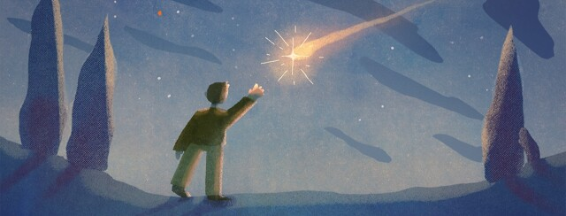 A person stands outside at night reaching to catch a shooting star